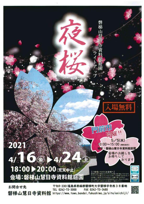 磐梯山慧日寺資料館ライトアップ夜桜